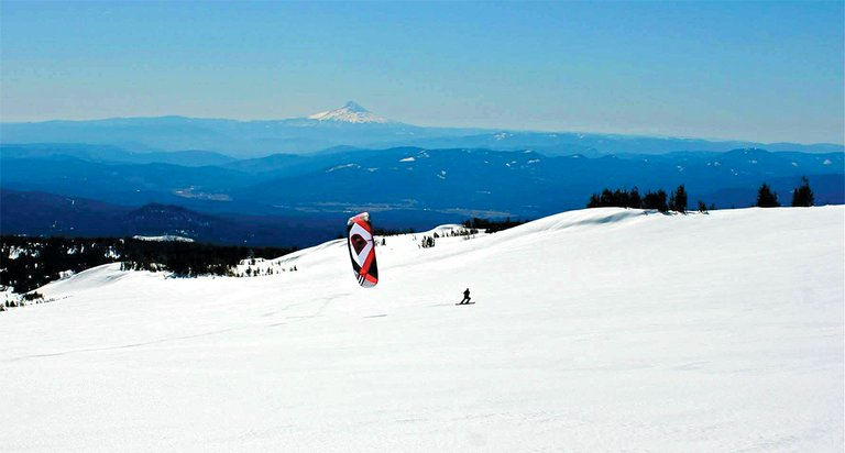 wind powered exploration on the south side of Mount Adams:Brad Gordon and Bob Riviello logged what could be the first-ever snowkite session on the mountain last weekend.