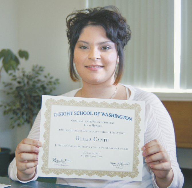 "Otilia Cantu has achieved high honors since enrolling at Insight School of Washington, part of the K12 network of online schools. Cantu said she now loves learning and will spend all day, from 9 a.m. until midnight, doing school work. ""I have to make her take breaks,"" said her mother, Ofelia Lopez."