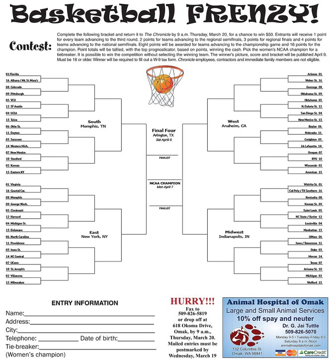 For a chance to win $50, fill out our Basketball Frenzy bracket and return it to us before 9 a.m. Thursday.