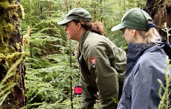 Carla Cole, natural resource program manager with Lewis and Clark National Historical Park, left, and volunteer Corrine Bird make sure a plot for monitoring elk pellets at Fort Clatsop, in Warrenton is correctly measured March 14.