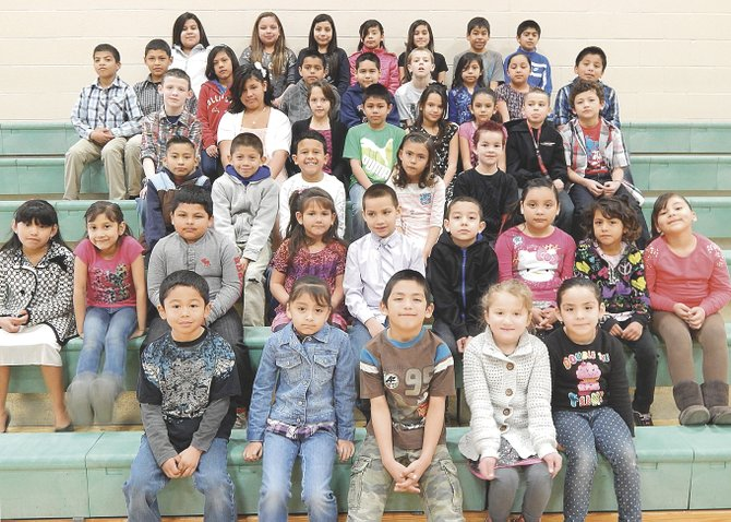 The Outlook Elementary School students of the month for March are (front row L-R) Ryan Gonzalez, Cynthia Rodriguez, Miguel Pacheco, Izabella Carpenter and Rosalba Calderon; (second row L-R) Joselyn Tlatelpa, Stephanie Casillas, Jonathan Trujillo, Crystal Farias, Anthony Castilleja, Brian Ramos, Stacy Jimenez-Balderas, Mayra Martinez and Jasmin Corona; (third row L-R) Fernando Jimenez, Alfredo Ramirez- Casas, Julian Vargas, Brianna Paniagua and Sisco Scott; (fourth row L-R) Lex Luther, Alexandria Villanueva, Athziri Payan, Anthony Arreguin, Azzeriah Fonseca, Monica Rubio, Nathan Gonzalez and Salvador Castaneda; (fifth row L-R) Diego Aguilar, Jacob Castro, Nancy Paniagua, Victor Huerta, Javier Vargas, Billy Jack Wiersma, Brillit Delgadillo, Elizabeth Licona and Mathew Cardenas; (back row L-R) Romelia Ortiz, Silvia Alvarez, Valeria Cortez, Maria Guadalupe Aquino, Jenyse Quintero, Isaiah Trevino and Juan Farias Jr. Not pictured are Ariel Ramos, Edgar Delgado, Marc Ramirez, Luke Almaguer, Mario Sanchez- Ramos, Emmanuel Rodriguez and Jose Acevedo.