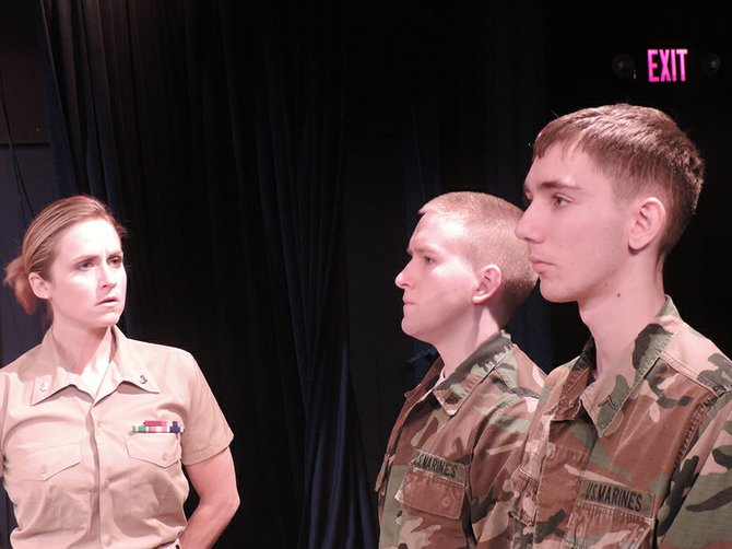 "On Trial: Marines Harold Dawson (Jake Camp, left) and Loudon Downey (Matthew Oldfield) stand trial in ""A Few Good Men."""