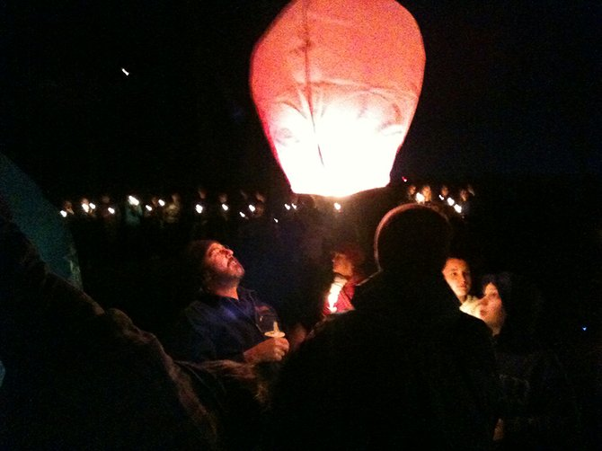 A sky lantern preapred for launch.
