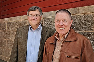 Democratic candidates (L-R) for lieutenant governor, Bert Marley, and governor, A.J. Balukoff, stopped in Grangeville last Thursday, March 20, as part of a region-wide campaign tour.