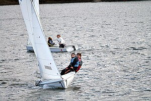 The gorge sailing team practices three times a week in the Hood River Marina, as seen here last week on an windy Thursday afternoon. The inaugural team will compete in a series of Northwest Interscholastic Sailing Association races this spring against several other high school teams from Oregon and Washington.