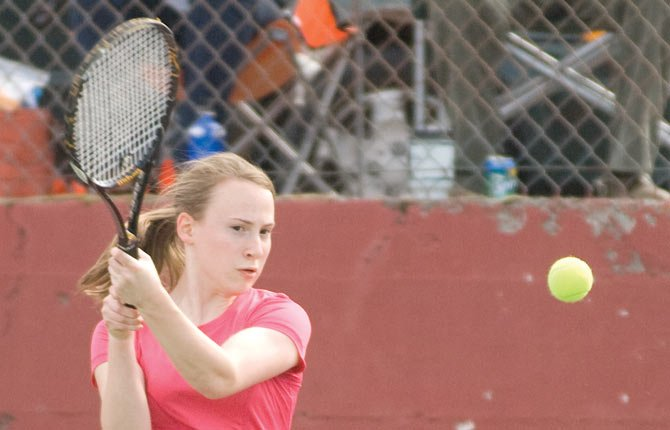 TD tennis player Johanna Wilson competes at The Dalles High in 2013. With Wilson aboard, the Tribe team has high hopes for '14.