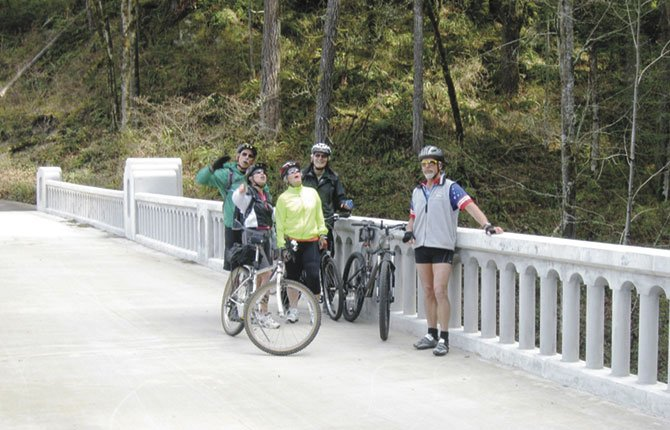 McCORD CREEK Bridge, a feature of the newest section of the Historic Columbia River Highway Trail, spans the creek in a gentle arc and art deco style, distinguishing this new feature from the original highway.