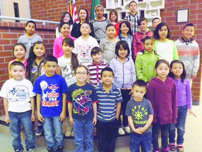 Mabton's Artz-Fox Elementary School students of the month for March include (front row L-R) Vicente Barrios, Angel Cisneros, Maximiano Ramirez, Max Chavez, Chrystian Velasquez, Abril Guevara and Alyssa Miranda; (second  row L-R)  Dulce Maria Galarza, Nancy Medina, Emily Velasquez, Lilianny Ochoa, Adilene Abundes, Dayana Esquivel-Perez, Marianna Rodriguez and  Alfredo Gonzalez; (third row L-R)  Adrian Enriquez, Jasmin Gonzalez, Oscar Diaz, Miyah Trujillo, Ebony Ramirez,  Jocelyn Moreno and Joan Gonzales; (back row L-R)  Brianna Castellanos, Celeste Alvarado, Nayeli Aguilar, Americus Alltus and Ivan Garcia.  Not pictured are Jaidyn Barajas and Isaac Ramos.