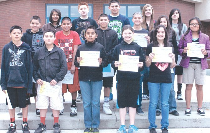 Sunnyside's Harrison Middle School students of the month for March are (front L-R) Benjamin Sanchez, Arturo Fernandez, Isaias Garcia, Samantha Norem and Chantal Bravo; (middle L-R) Leo Mendoza, Jose Calvillo, Derrick Escamilla, Malea Esqueda, Chastitee Garcia and Alicia Perez; (back L-R) Uriel Diaz, Jose Acevedo, Tye Cuello, Allison Davis and Jennifer Calderon. Not pictured: Fabian Andrade.