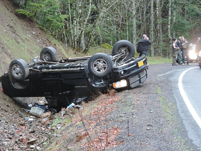 Speed was the contributing factor in the rollover of this Dodge Ram pickup that occurred on Cook-Underwood Road in Skamania County at about 5:15 p.m. Friday. The driver of the vehicle, John Faries, 46, of Ontario, was lodged in Skamania County Jail on charges of attempting to elude a police vehicle and possession of methamphetamine.