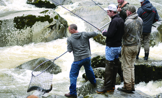 "Steelhead and fishermen alike were still piled up at the South Fork Clearwater River ""Snag Hole."""