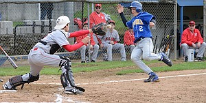 RJHicks makes a heads-up play at home to prevent a run.