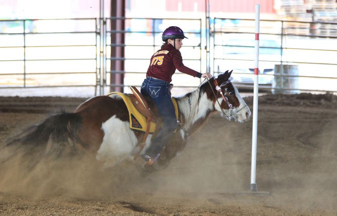 THE DALLES equestrian rider Carsen Cordell competes in the figure 8 event at a Central District High School Equestrian held from March 28-30 in Redmond. As a team, the Eagle Indians amassed 171 points for sixth place in the medium-team standings. Of all the events, TD had six top-7 finishes.
