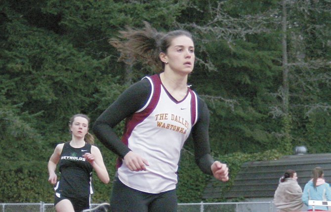 THE DALLES' Emily Bailey competes in the 800-meters in Friday's East County Classic in Gresham. Bailey finished with a final marker of two minutes and 24.55 seconds for first place honors.                        Scott McMullen/Contributed photo