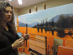 Rachel Harvey, at work on an oil painting in her Mt. Hood studio, will be among the artists opening their doors on this weekend's Gorge Open Studios tour (details under Art Notes, page B1).