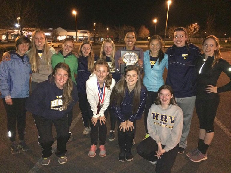 hrv girls track took first place at the ECC meet for likely the first time in the program's history, according to coach Herneisen.