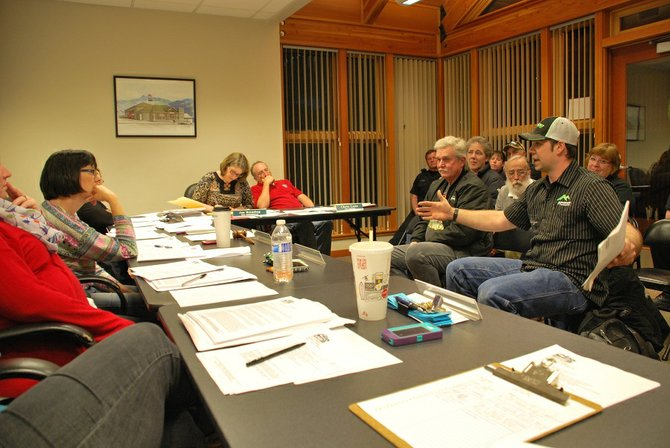 Will Altig, manager of DJ's Mountain Motorsports in Bingen, addresses the Bingen City Council at their April 1 meeting where the panel discussed draft of a proposed ordinance that would allow the use of all-terrain vehicles (ATVs) and utility task vehicles (UTVs) on roads within city limits.