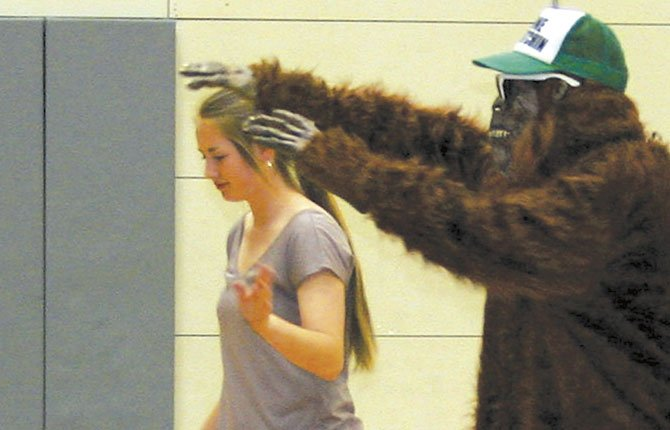 A SASQUATCH mascot shows off for the audience during a The Dalles Middle School mascot assembly. Other options include Riverhawks, The Current, Rapids and Rattlers.