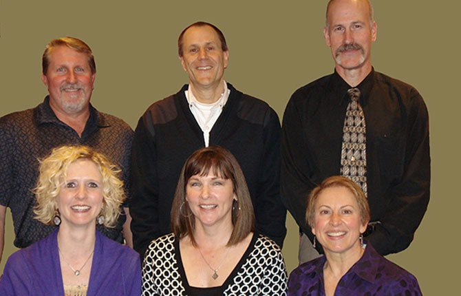 THE DALLES area residents will test their twinkle toes for the second year in a row as Mid-Columbia Community Concerts presents Dancing with the Gorge Stars, Thursday, May 1, at 7:30 p.m. This year's contestants are, front row, from left: Pam Jensen, Timmons Law PC; Tonya Brumley, NW Natural; Luis Langheinrich, Lines of Design; back row: Mike Urness, C.H. Urness Motors; Bob Palmer, Mid-Columbia Fire and Rescue; and Damon Hulit, Columbia State Bank.