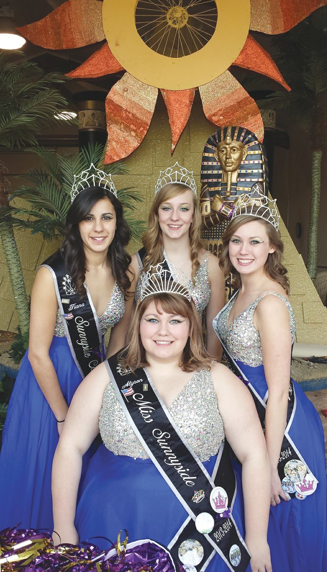 Preparing to debut 'Egyptian Treasures' at next Thursday's Torchlight Parade are (back L-R) Miss Sunnyside princesses Tiana Perez, Leah Diddens and Ashley Davis; (front) Miss Sunnyside Alyson Spidle.