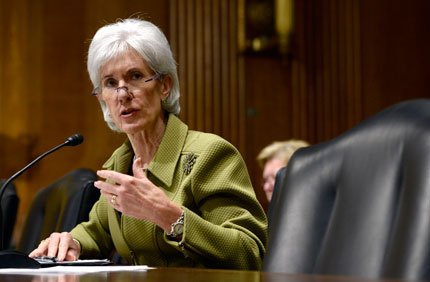 Health and Human Services Secretary Kathleen Sebelius testifies on Capitol Hill in Washington, Thursday, April 10 before the Senate Finance Committee hearing on the HHS Department's fiscal Year 2015 budget. A White House official says Sebelius is resigning from the Obama administration. The move comes just a week after the close of the rocky enrollment period for President Barack Obama's health care law.