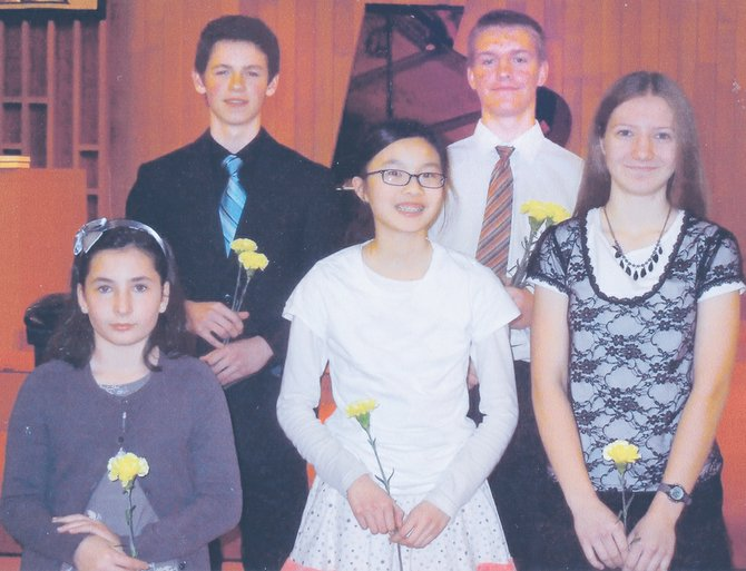 Five local upper level piano students received honorable mention recognition during a recent state recital competition held at Sunnyside Presbyterian Church. Pictured are (front row L-R) Claudia Festo, Jia Min Chen and Megan Yorgesen; (back row L-R) Cole Gardner and Trevor Yorgesen, who will represent the Sunn Valley Music Teachers at the state's music teachers conference at Eastern Washington University. Gardner is the alternate representative to the state conference.