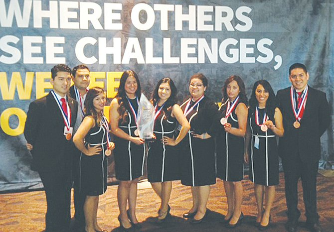 The Heritage University students that won third-place honors in the National Enactus Competition were (L-R) Francisco Ramirez, Denis Arce, Adriana Villafan, Haydee Navarro, Michelle Alegria, Guadalupe Jimenez-Rios, Sagrario Leon, Daisy Santiago, Cruz Orozco. The team competed against 225 other colleges and universities.