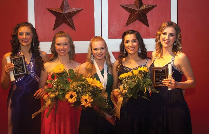 The Distinguished Young Women program was April 12 in The Dalles High School Auditorium. A total of $12,500 was awarded to the following women: Bailee Newman, left, Spirit of Distinguished Young Woman, $1,000; Sammy Minnick, finalist $1,500; Sydney Langer, 2015 Distinguished Young Woman of Wasco County, $5,000; Marta Gamez, first alternate $3,000; Bri Stavaas-Jamack Scholastic Award $2,000.