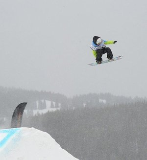 Sean Fitzsimons, 13, pictured in the midst of a frontside 720, claimed gold in slopestyle and halfpipe events at the recent USASA National Championships at Copper Mountain, Colo.