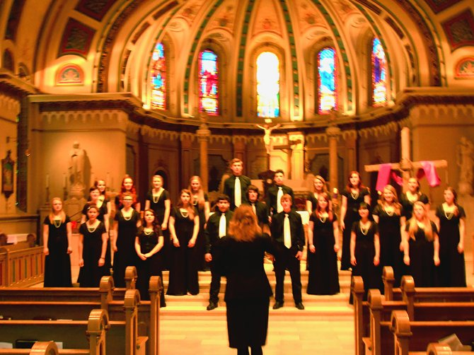 Varsity Blue sings at St. Mark's Cathedral.