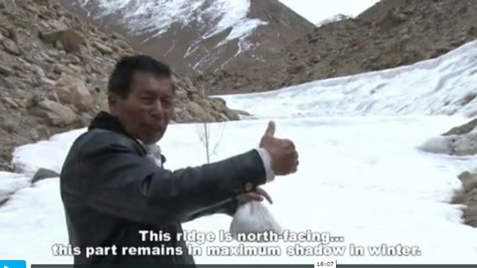 In the film 'Beyond Prayer' Chewang Norphel explains how artificial glaciers are created in the Himalayas.