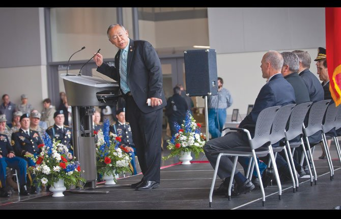 Dr. Frank Toda, president of Columbia Gorge Community College, thanks members of the official party during dedication ceremonies at Fort Dalles Readiness Center, now home of Oregon National Guard Alpha Company, 3-116 Cavalry. Members of the official party included U.S. Senator Ron Wyden, (D-OR), U.S. Senator Jeff Merkley (D-OR), State Senator Ted Ferrioli, (R-John Day, OR District 30), State Representative John Huffman, (R-The Dalles, OR District 59), Major General Daniel R. Hokanson, The Adjunct General, Oregon and Brigadier General Steven R. Beach, Commander, 82nd Brigade Troop Command.