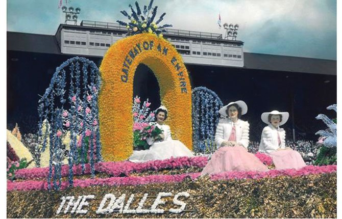 THE DALLES' 1940 Rose Festival Parade float, featuring Cherry Queen Helen (Spickerman) Elton. Local cherry growers fielded the float.
