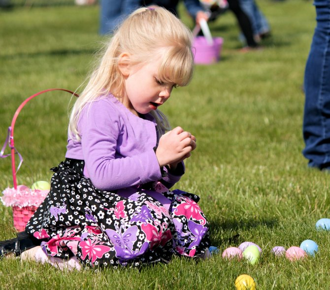 Communities across Idaho County held annual Easter egg hunts for local children. This girl checks out her haul following last Saturday's egg hunt at the Lions Park in Grangeville, which had a total 7,038 eggs.