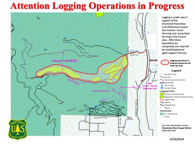 The map shows the area of Freund Canyon Trail closed for logging operations.