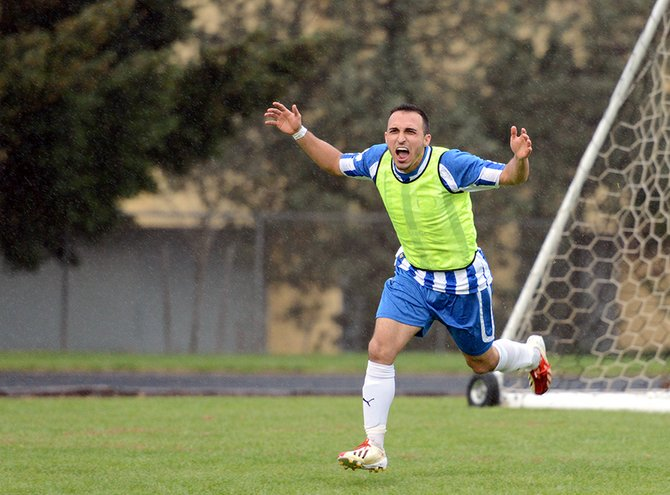 Raul marquez reacts after scoring the first of two goals in Gorge FC's home game Saturday night against Seattle's Inter United. Despite a 2-0 first-half lead, Gorge FC lost the game 4-2.