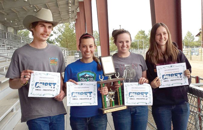 The Dalles equestrian members Jacob Richman, Carsen Cordell, Mackenzie Urness and Hannah Simmons are all smiles after taking a state-qualifying third place in the drill team event this past weekend in Redmond.