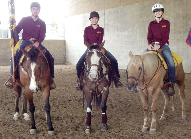 THE DALLES senior equestrians (pictured from left to right), Thomas Richman, Carsen Cordell and Lauren Thalhofer are mounted and smiling after Sunday's closing ceremonies during OHSET competition inRedmond.