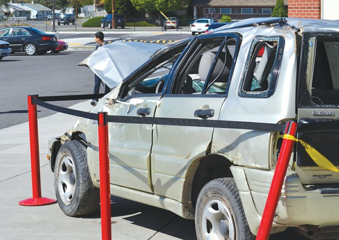The leadership class at Sunnyside High School this week is providing students a reminder to be safe behind the wheel, especially with prom scheduled for tomorrow night, Saturday, by placing a wrecked car on the high school campus.