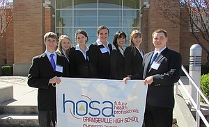 GHS HOSA members include (L-R) Dillon Alder, Mary Kaschmitter, Delayne VanGunten, Lily Willig, Grace Suh, Alex Nuttman and Sean Bailey.