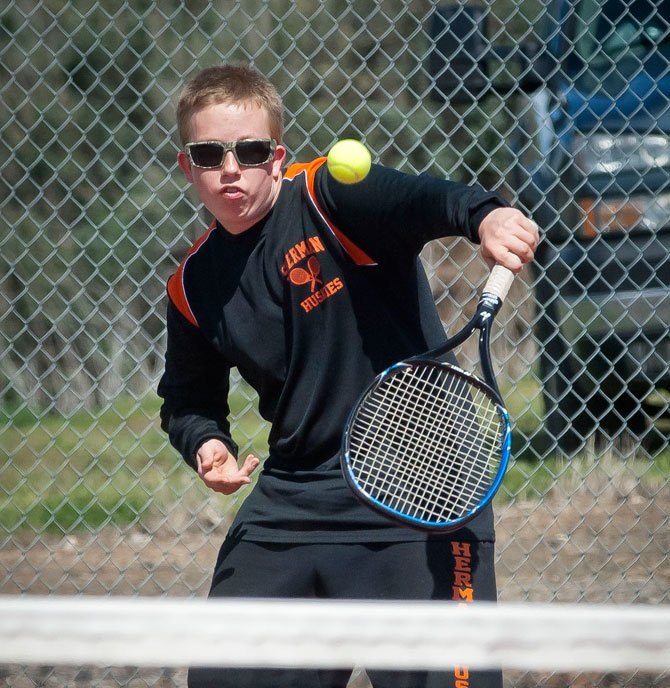 Sherman sophomore Brett Lane competes against Ione April 25, 2014 in Moro.