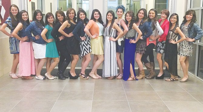 The students who will be leading cheers at 2014-15 athletic events at Sunnyside High School include (L-R) Molly Marquez, Samantha Gonzalez, Dalilah Cuellar, Itzel Justo-Garcia, Liliana Cisneros, Alexis Rocha, Krisana Fernandez, Annie Lara, Yazaret Villafana, Cheyenne Fernandez, Heidi Vergara, Christina Gomez, Mariah Cantu, Ana Diaz, Crystal Rivera and Kayla Martinez. Not pictured are Claudia Rivera, Elizabeth Juarez and Zachary Salinas. The teens were recently selected as next season's cheerleaders during try-outs.