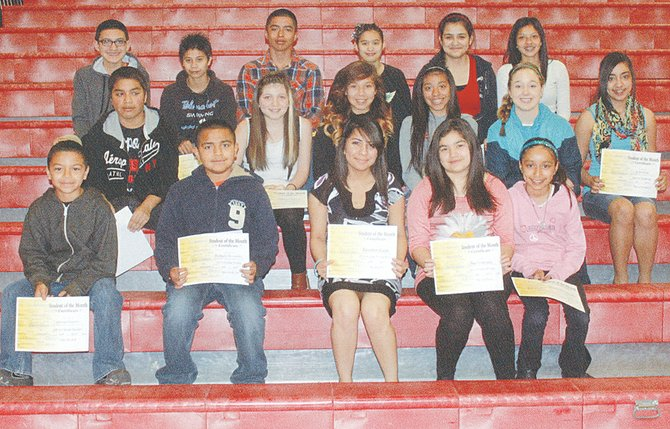 The Harrison Middle School students of the month for April are (front L-R) Alfredo Vidaurri, DeAngelo Hernandez, Elizabeth Ruldo, Nia Gonzalez and Elizabeth Gonzalez; (middle row L-R) Michael Garcia, Alondra Garcia, Leslie Rivera, Yariel Quiroz, Alex Partch and Jaslyn Serna; (back row L-R) Jesse Martinez, Armando Leyva, Pedro Moreno, Jackie Garcia, Istar Sanchez and Cindy Duarte. Not pictured are Jose Sanchez, Daniel Gurrola, Ulises Gutierrez, Nick Saunders and Shantai Farias.