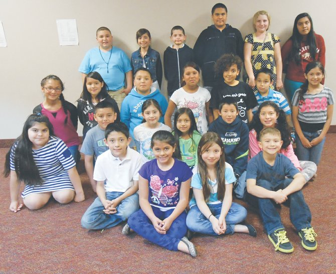 Sunnyside's Washington Elementary School third, fourth and fifth grade students of the month for April as listed by school staff are (front row L-R) Guillermo Flores, Alessandra Arreola, Arianna Benitez and Calvin Palomarez; (second row L-R) Jazlynn Valdez, Kevin Cruz, Deissy Mendez, Yadira Flores-Velasco, Phae Bien Flores and Kimberly Esquivel-Chavez; (third row L-R) Ruby Reyes, Angie Castilla, Nathaniel Alvarado, Susie Martinez, Malayna Butler, Sergio Valencia and Emily Campos; (back row L-R) Brandon Sehnert, Hennessy Rodriguez, Blade Gatica, Jaime Saucedo, Holly Geike and Viviana Valdivia. Not pictured is Madison Villalobos.