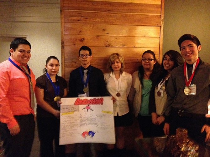 HOSA students, from left: Jovany Pedroza, Thania Torres, Eduardo Garcia, Hannah Blaine, Nora Gonzalez, Yerili Cuevas and Samuel Ortiz.