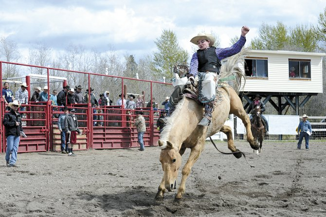 Caleb McMillan of Soap Lake scores 67 in senior boys bareback riding at the 37th annual Nespelem Junior Rodeo last weekend, April 26-27. McMillan won the senior boys all-around title.