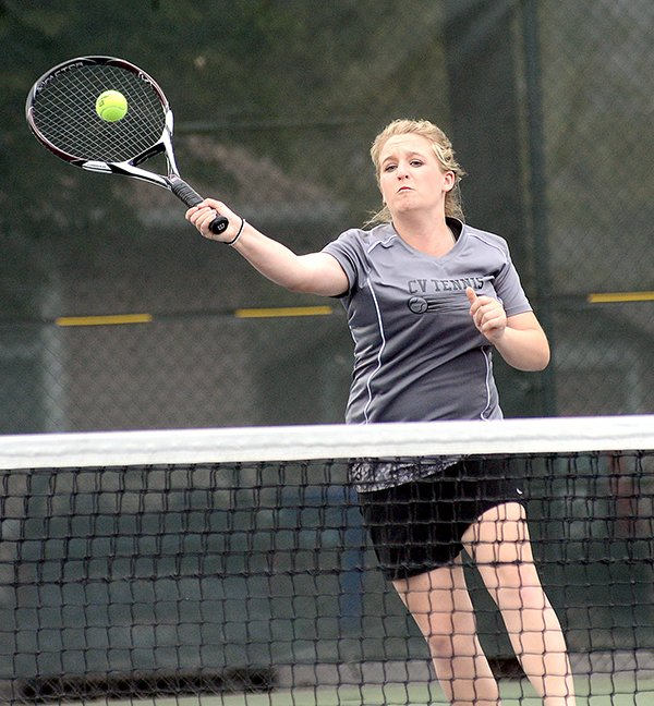Clearwater Valley's Shalynn Gutzman — who, along with Adrianne Nuxoll, powers the district's strongest girls' doubles team — smashed this one for a winner against Charter last Saturday, May 3, at Lewiston.