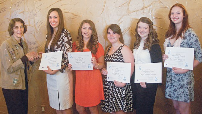 These five Lower Yakima Valley high school seniors accept Soroptimist International of Lower Yakima scholarships totaling $5,000 during a breakfast meeting held in Sunnyside recently. Pictured (L-R) are Soroptimist scholarship chairperson Carol Bos, and scholarship winners Sierra Roberts of Prosser, Taylor Snell of Zillah, Kate Burnett of Prosser, Sara Durrant of Prosser and Chelsey Sheppard of Harrah.
