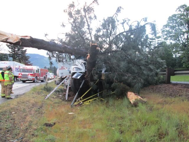 Scene of a fatal commercial truck crash on I-84 Westbound in Hood River, May 9, 2014.