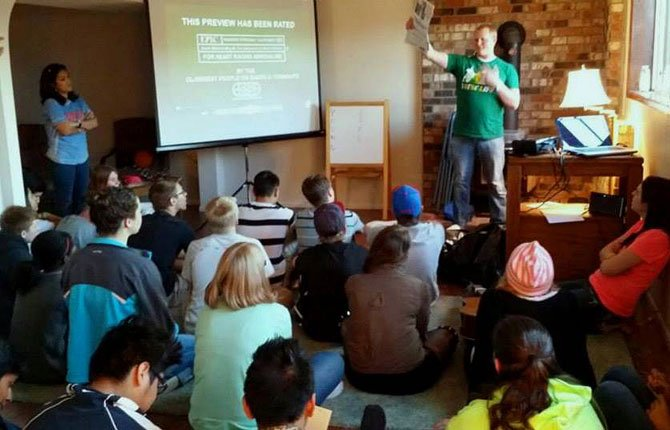 Young Life Leaders Nina Cummins and Michael Calquhoun speak at the first Young Life meeting in The Dalles.     Contributed photo